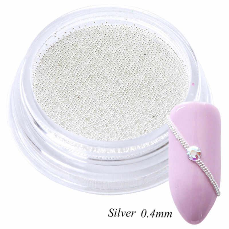 0.4 millimetri 3D Colorato In Metallo Micro Perline Femminile Mini In Acciaio Inox Nails Art Caviar Perline FAI DA TE Pendenti e Ciondoli Della Vite Prigioniera Manicure di Arte decorazioni