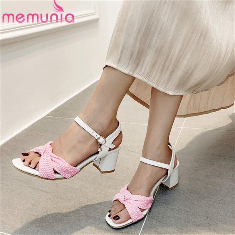 MEMUNIA 2019 big size 46 women sandals mixed colors summer shoes buckle high heels sandals simple party dress shoes woman