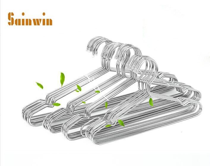Sainwin 10pcs / lot Tlusté 3,2 mm Nerezové věšáky pro oděvní kolíky Dospělí a děti Věšáky z nerezové oceli
