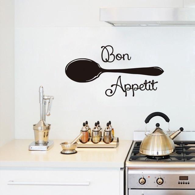 Bon Appetit Französisch Spanisch Zitate Lebensmittel Wandaufkleber Mit  Suppe Löffel Kochwerkzeug Wohnzimmer Esszimmer Restaurants Küche