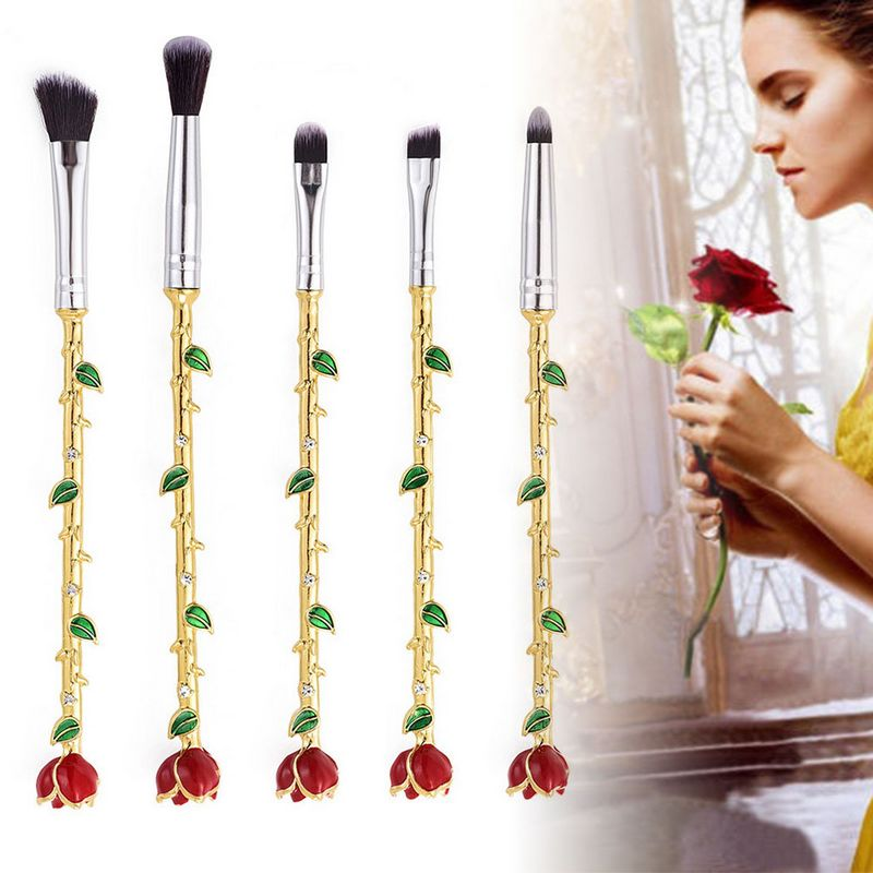 Mayitr 5pcs Beauty and the Beast Rose Flower Makeup Brushes Set Lip Eyes Brushes For Cosmetic Tools beauty and the beast teacher s book книга для учителя
