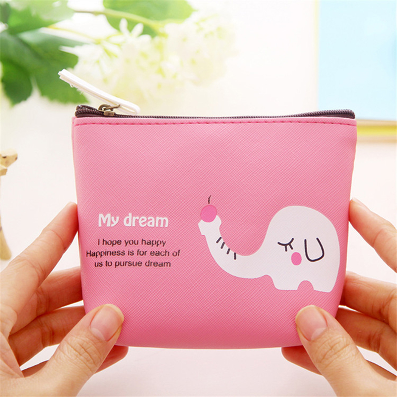 Active Cute Kawaii Pu Leather Pencil Bag Cartoon Animal Purse Wallets Bag Change Pouch Female Portable Holder Promoting Health And Curing Diseases