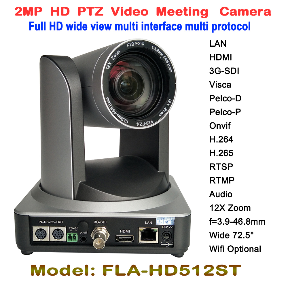 Full HD 1080 P PTZ Riunione Video Fotocamera CMOS 12X Ottico Grandangolare da 2.0 Megapixel hdmi G-SDI LAN Wireless Digitale tripod mount