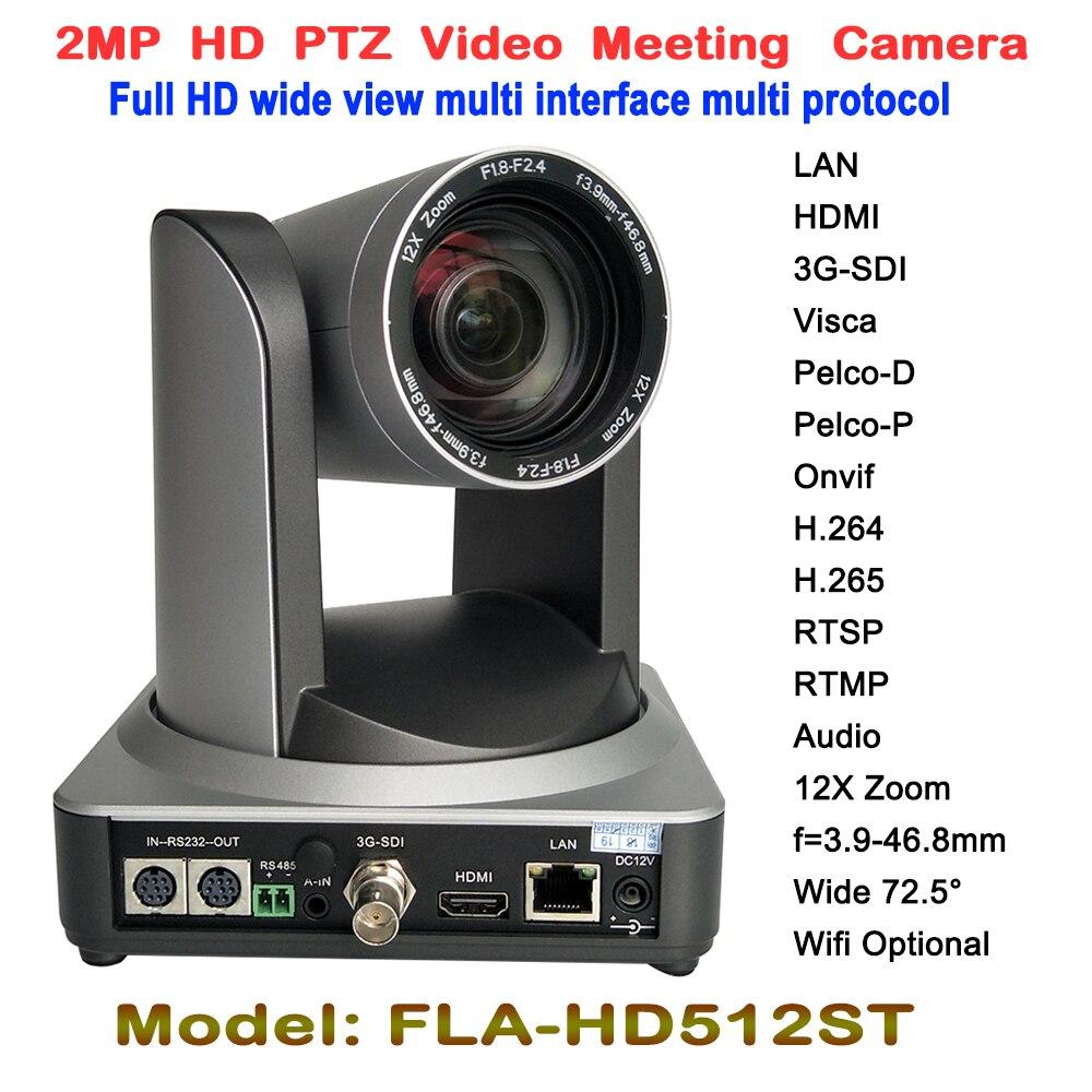 Reunião de Vídeo Da Câmera Full HD 1080 P PTZ 12X Óptico Grande Angular 2.0 Megapixel CMOS hdmi 3G-SDI LAN Sem Fio Digital montagem em tripé
