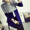 2016 Spring Autumn Cardigan Fashion Hit Color  Slim Long Women's Brand cashmere material  loose sweater female outerwear coat