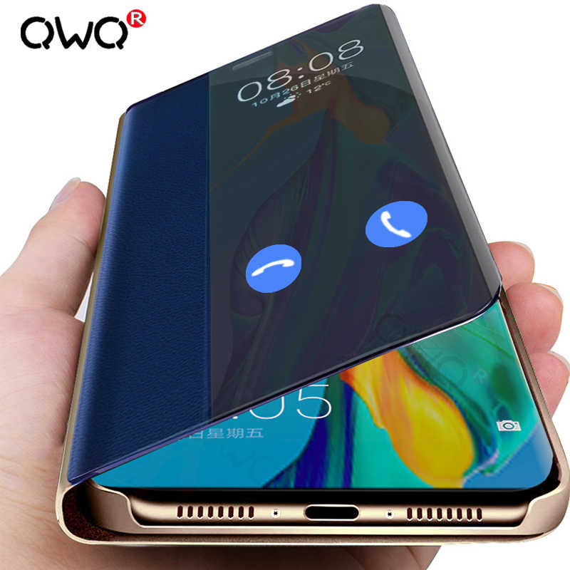 Luxury Smart Clear View Flip Phone Case For Huawei P20 P30 Mate 20 Lite Protective Cases For Huawei P20 P30 Pro Leather Cover