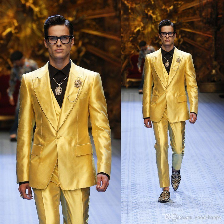 Fashion Shiny Yellow Groom Tuxedos Excellent Men Wedding Dress Men Business Prom Party Dinner Holiday Suit(Jacket+Pants+Tie+Vest