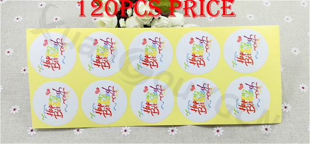 120pcs DIY Baking Seal Stickers Happy Birthday Gift Tags Wedding Favors Party Label Marks Accessories Burlap