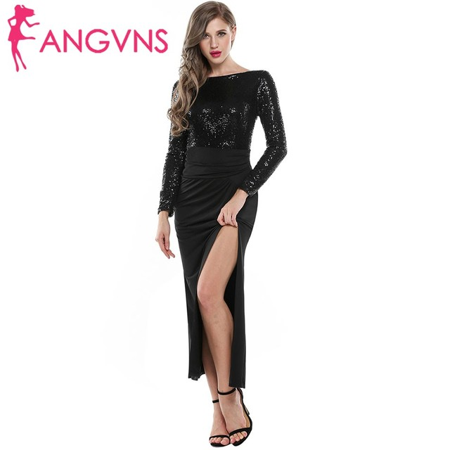 ANGVNS Women Sequined Formal Long Dress Sexy High Split Evening Dess Full  Sleeve Party Long Maxi 15536f221
