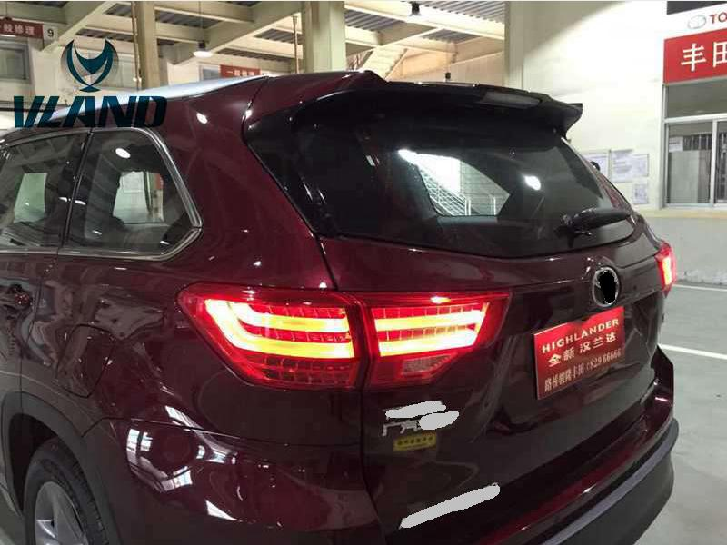 Free shipping Vland Car Lamp for Toyota Highlander Kluger LED Taillight LED Light Bar DRL Rear Lamp fit for Year Model 2015-2016