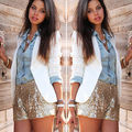 Sexy  Ladies Women Hot Shorts Summer  Sequin Shorts Casual High Waist  Fashion 2016