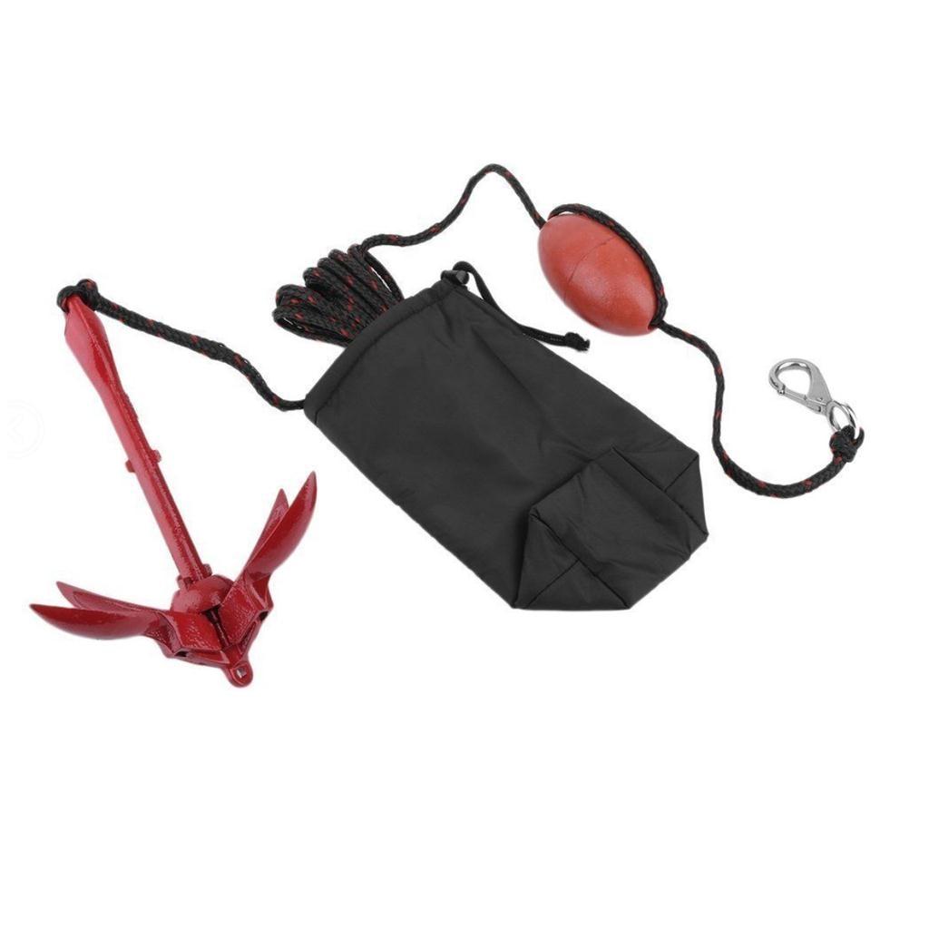 Heavy Duty Boat Kayak Canoe Jet Ski Folding Anchor Rope Buoy Snap Hook Kit Accessories