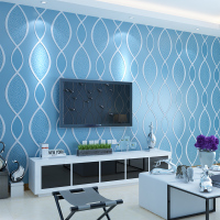 Modern 3D Stripe Wallpaper Living Room Bedroom TV Setting Blue Beige Yellow Wall Paper
