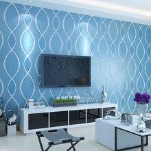 Modern 3D Stripe Wallpaper Living Room Bedroom TV Setting Blue Beige Yellow Wall Paper