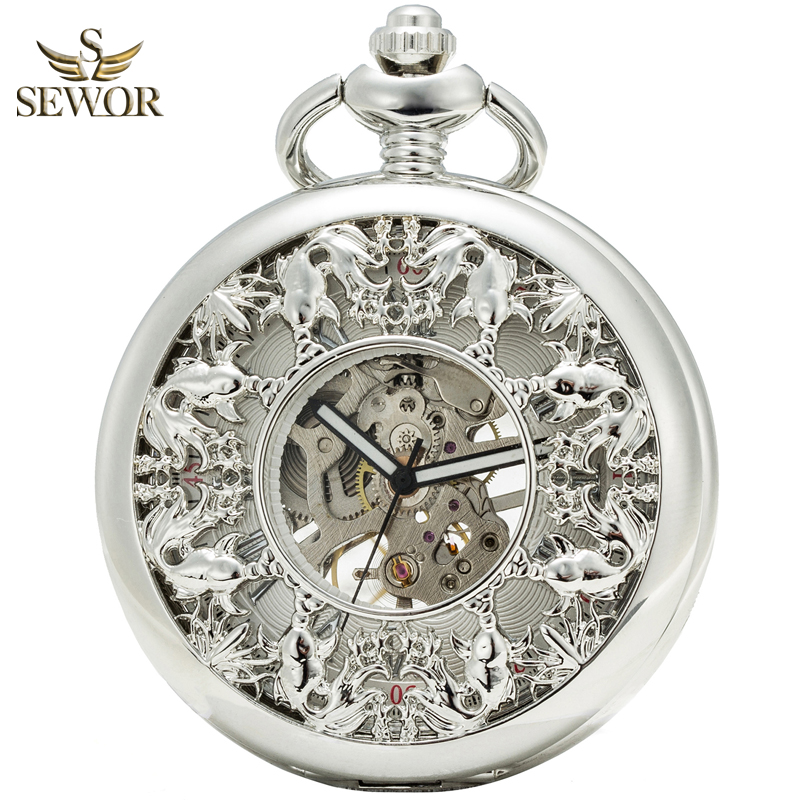 SEWOR 2019 Top Luxury Brand Fashion Honorable Sliver Bronze Enamel Roman Number Fish Patter Sport Mechanical Pocket Watch C185