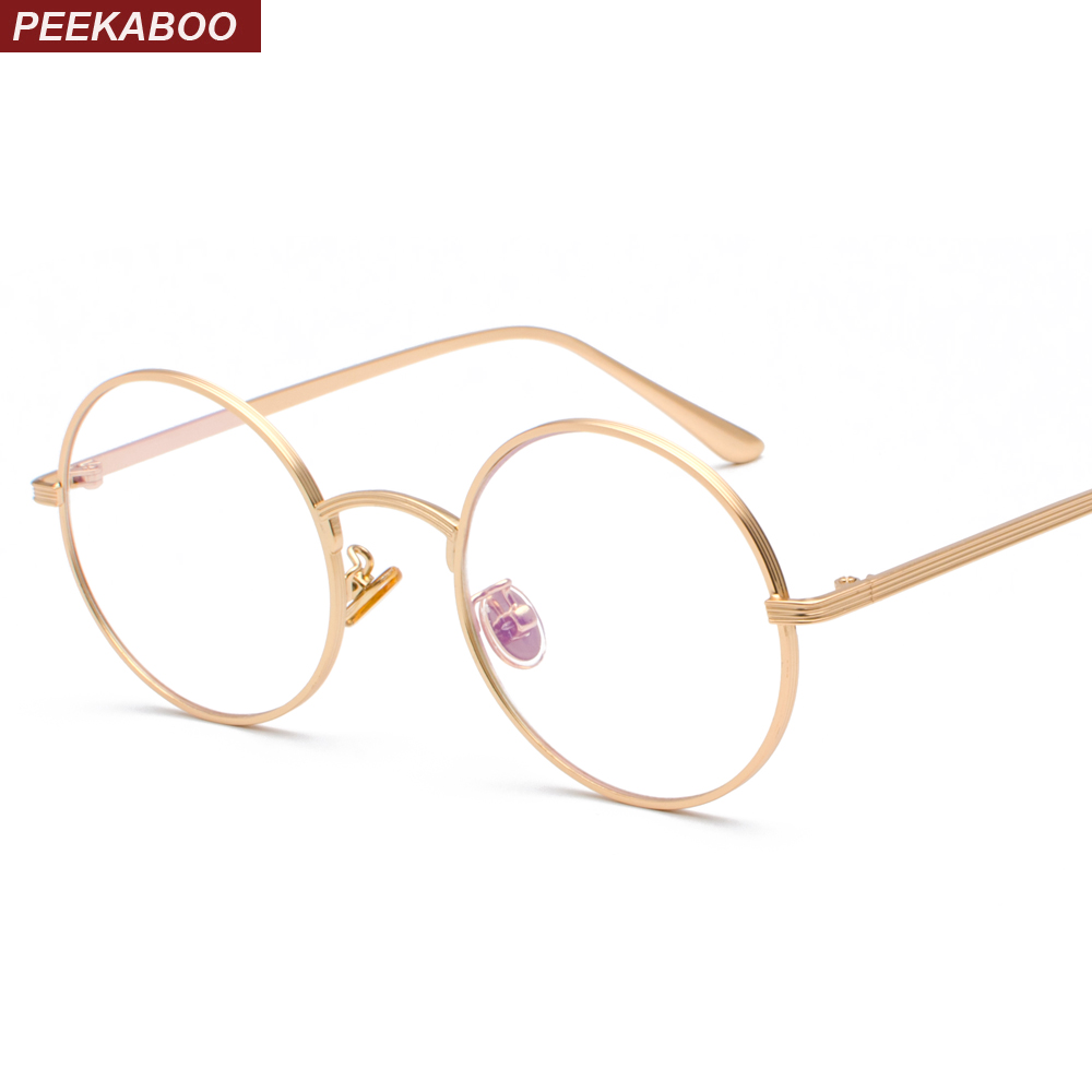 a86f92c481f Peekaboo women eye glasses frames round for men 2019 clear lens vintage  retro round circle metal frame eyeglasses