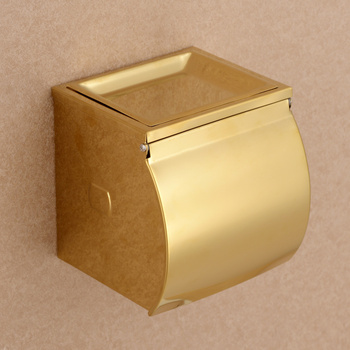 New Wall Mounted luxury Stainless steel gold Toilet Paper Holder box golden Tissue Bar Bathroom accessories--MDP467