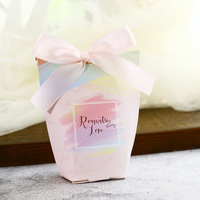 50/100pcs New Creative Ferrero Candy Boxes Wedding Favors Party Gift Box paper package Candy Bag with Silk ribbon