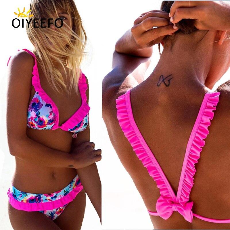 Oiyeefo New Shiny Beach May Bright Pink Ruffle Bikini Frilly Swimsuit Cute Bow Bathing Suits Women Deep V Swimwear Female Plavky