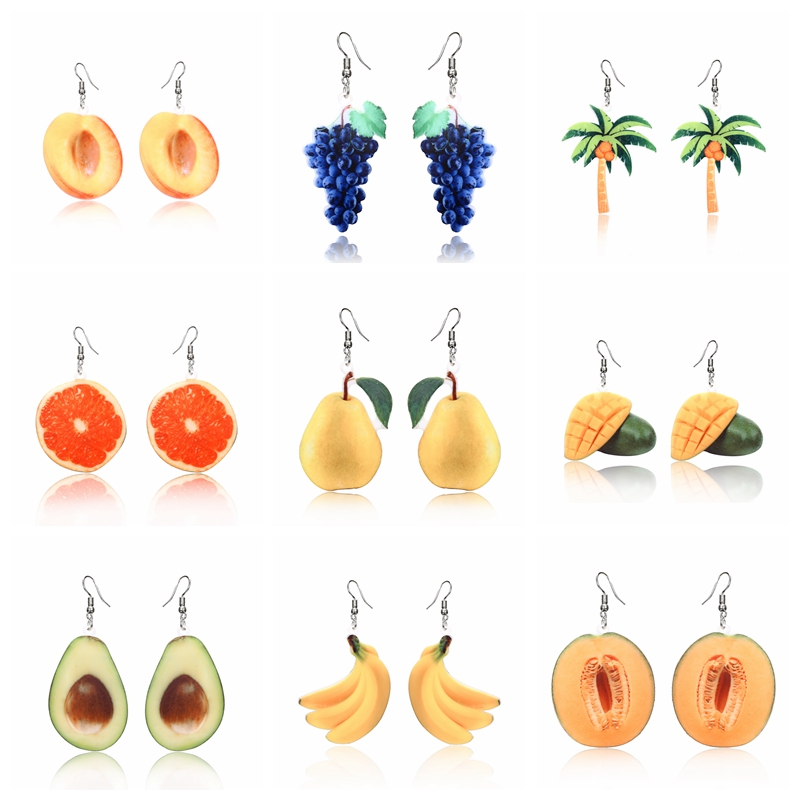 Acrylic Earrings For Women Statement Jewelry 9 style Fruit Drop Earrings pears grape coconut tree orange peach Earrings