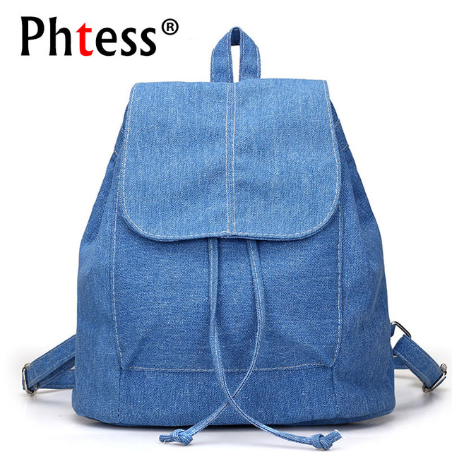 PHTESS Women Canvas Backpacks for teenage Girls Small Drawstring Backpack jeans for Teenage Sac A Dos New Solid School Rucksacks