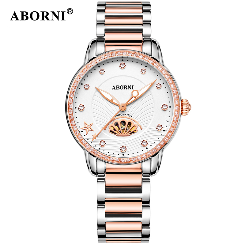 Aborni Gold Flower Watches Luxury Brand Women's Fashion Automatic Hollow Designer Lady's Dress Mechanical Watch Relogio Feminin contrast striped petal sleeve dip hem shirt