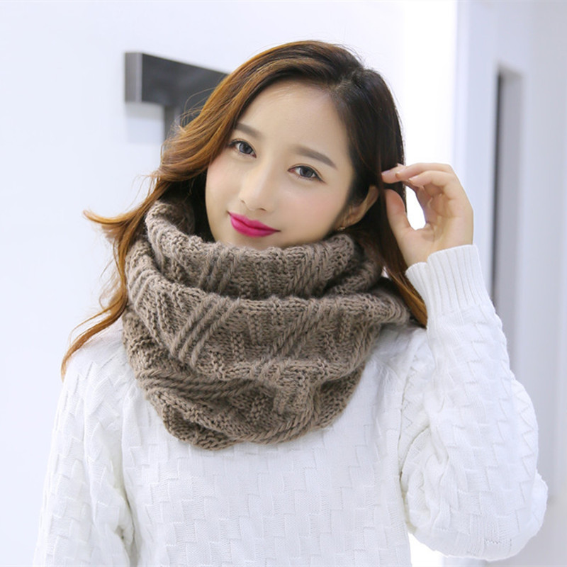 2017 Fashion Striped Plaid Ring Scarves Women Knitted Wool Neck Wrap Shawl Female Winter Thicken Warm Ring Loop Scarf Tube Scarf