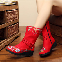 2017 New Autumn Women Boots Embroidered Casual Canvas Comfortable Boot Chinese Shoes Botas Mujer