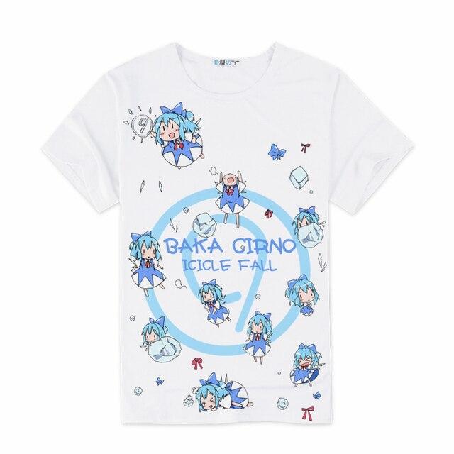 Anime T-shirt Cirno Touhou Project Saigyouji Yuyuko Hakurei Reimu Cosplay T Camisa de Manga Curta T