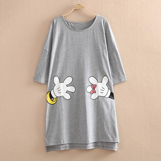 2017 Verão mulheres nightgowns sleepshirts nightdress sleepwear nightwear meninas ocasional dos desenhos animados de algodão solta e confortável vestido de casa
