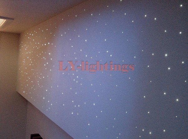 DIY optic fiber light kit led light source+2Meter mix size optical fiber color change twinkle star ceiling light 20W RF remote цена