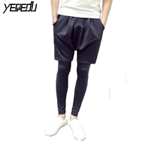 BF 26 Harajuku Space Cotton Shorts Legging Sports Faux Two Piece Hip Hop Streetwear Slim Harem
