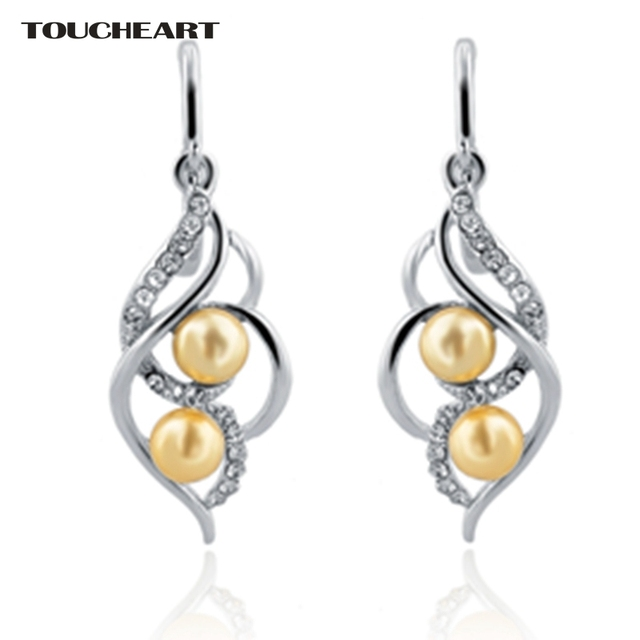 Toucheart Indian Imitation Diamond Earrings Fashion Jewelry With Stones Gold Plated Pearl Earring For Women