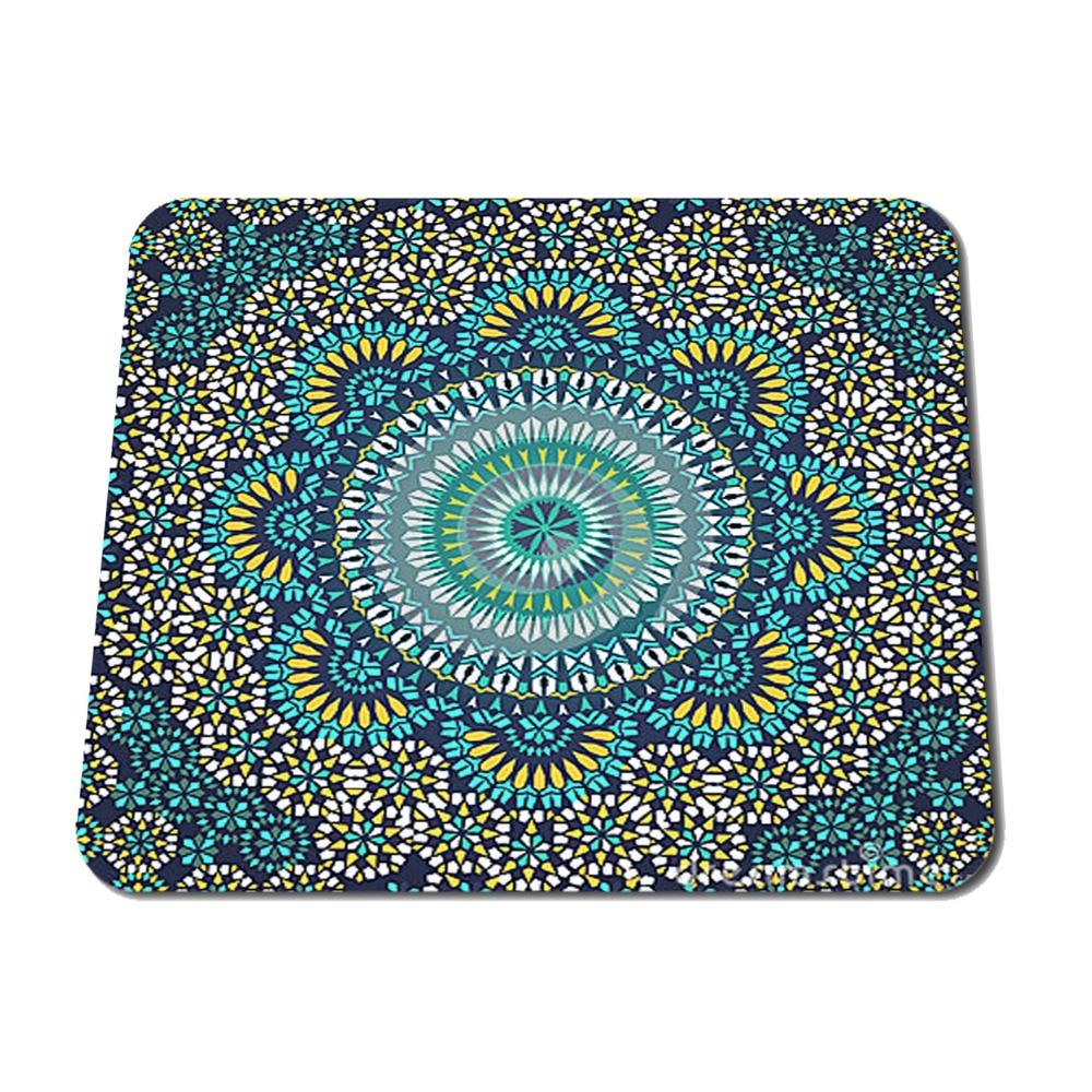 Blue Oriental Carpet Rug Design Computer Mouse Pad