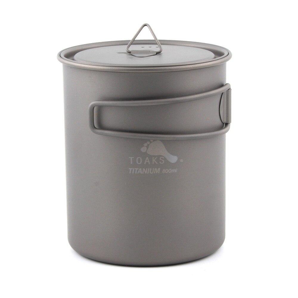 TOAKS POT-800 Pot en titane ultra-léger en plein air Camping ustensiles de cuisine en titane tasse à eau poignée pliante 800 ml
