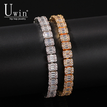 Uwin Baguette CZ Armband Iced Out Zirkoon 8.5m HipHop Mode Punk Ketting Bling Bling Elegante Charms Sieraden 7inch 8inch