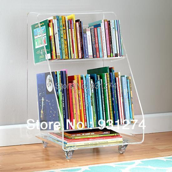 Rolling Acrylic Bookcase 2 Tiers Clear Perspex Living Room