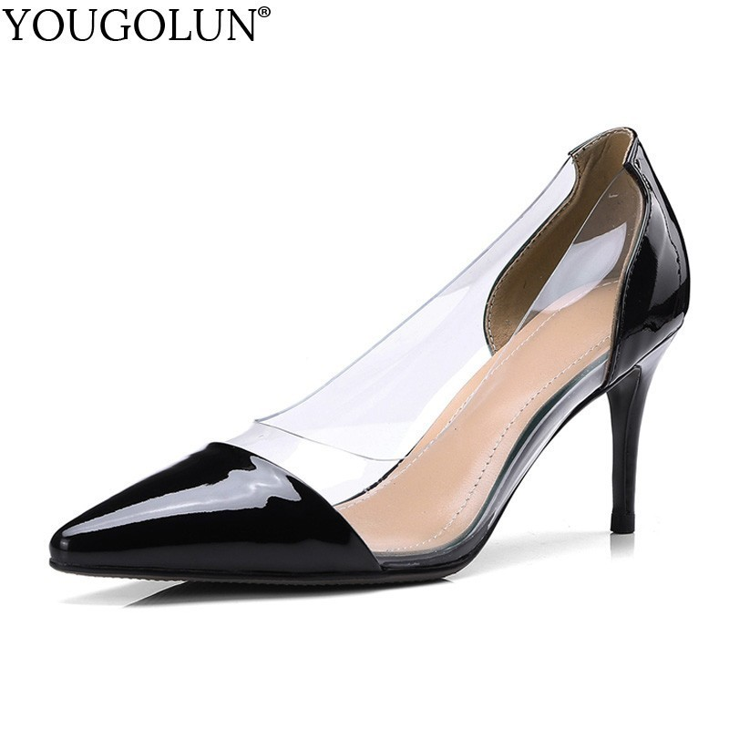 YOUGOLUN Women Genuine Patent Leather High Heels Ladies Shallow Shoes Woman Red Black White Sexy Pointed toe Party Pumps B222 2016 size 34 49 black high quality patent leather sexy pointed toe high heels women pumps ladies shoes woman chaussure femme
