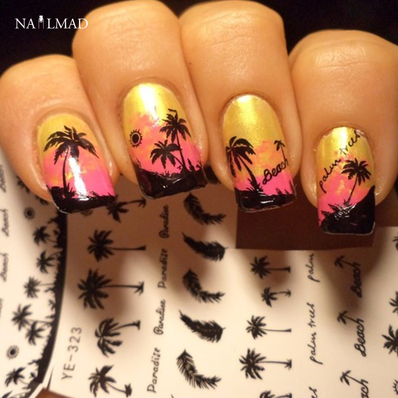 1 sheet NailMAD Black Feather Nail Water Decals Coconut Tree Transfer Stickers Nail Art Sticker Tattoo Decals YE323