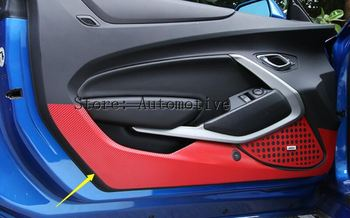 Wysoka jakość! Kolorowe dla Chevrolet Camaro 2016 2017 wewnętrzna strona drzwi podkładka ochronna podkładka do kopania zestaw do formowania wykończenia 2 sztuk zestaw tanie i dobre opinie Yang Jun Zhe CN (pochodzenie) 1inch Chromowa stylizacja