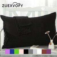 2PCS 100% Cotton Pillow Case 70*70 50*70 50*75 Solid Pillowcase Decorative Pillow Cover Bedding for Hotel Wedding Black