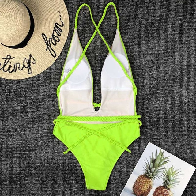 Halter Neon Deep V Swimsuit Women Monokini String Bathing suit Sexy Push Up Swimwear one piece Bodysuits High cut Bikini Women 6
