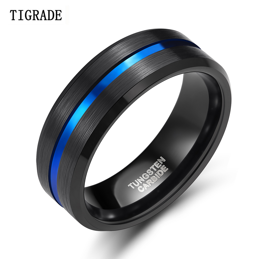 TIGRADE Tungsten Carbide Jewelry Ring-Thin Wedding-Band Blue-Line Anime Men Black Vintage Men title=