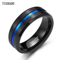 TIGRADE 8 мм мужское черное кольцо из карбида вольфрама тонкая синяя линия обручальное кольцо винтажные мужские ювелирные изделия аниме Anel ...