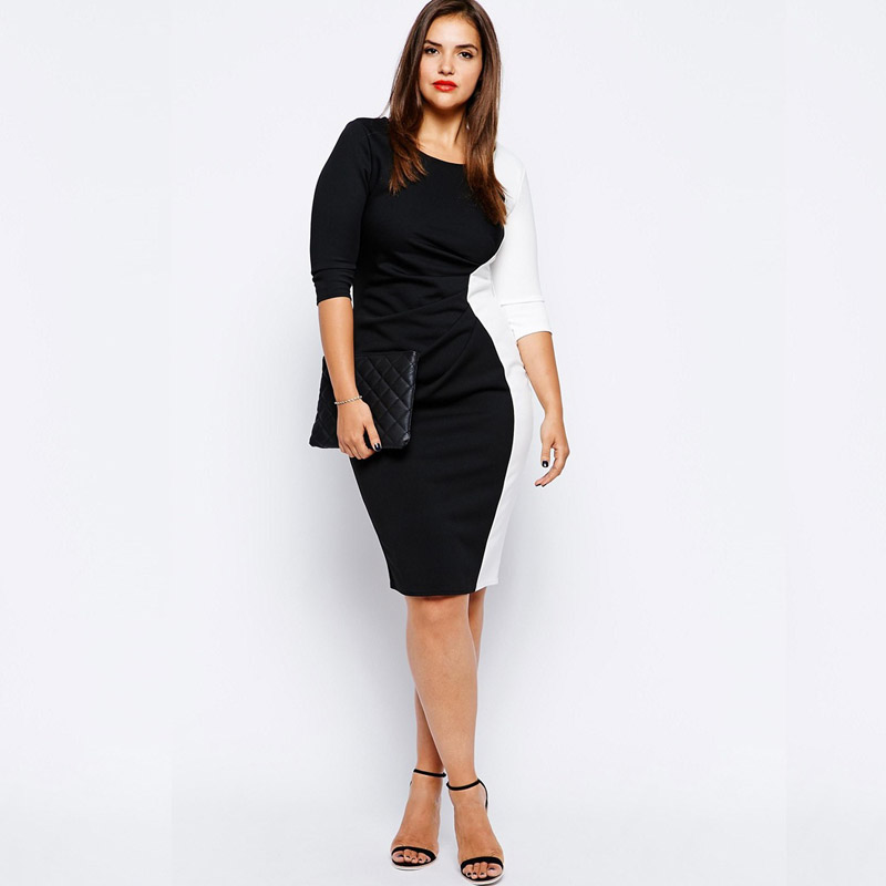 dfaa3cb61230 Dresses Women Plus Size xxxl 4xl 5xl Sexy Fashion Black White Colorblock  Long Sleeve O Neck
