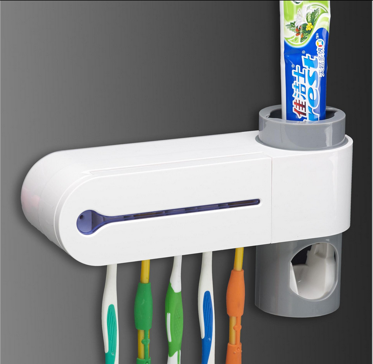 5 Grid Toothbrush Sterilizer Toothbrush Holder Automatic Toothpaste Dispenser Squeeze Cleaner Antibacteria UV Light Bathroom Set