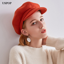 USPOP 2019 New women wool octagonal hat solid color retro caps newsboy visor cap female warm thick winter hats