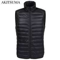 Winter Duck Down Vest Men Ultra Light 90 Duck Down Vest Loose Waistcoat Vest Sleeveless Jacket