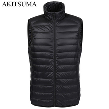 Winter duck down vest men Ultra Light 90% Duck Down Vest loose waistcoat Vest Sleeveless jacket autumn black gray navy AKITSUMA