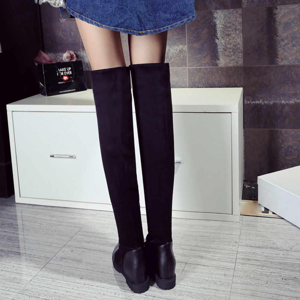 แฟชั่นต้นขารองเท้าบูทสูงรองเท้าบูทฤดูหนาวรองเท้าผู้หญิง 2019 ฤดูหนาวสีดำ Zapatos De Mujer Botas Feminina Dropshipping